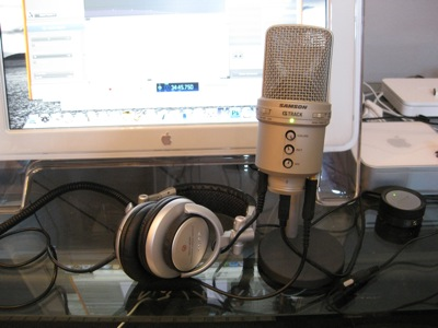 Ken Morico's Podcast Studio - Samson G2 microphone, Sony headphones, Mac Mini